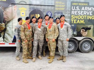 Members of the USARCMP competed at the interational CAFSAC match in Canada. From left, SSG Volmer, MSG Espinosa, CW2 Knote, CPT Conners, SSG Godel, CSM Slee, SFC Buol, SSG Chris Allen.