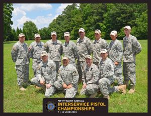 Army Reservist Soldiers competing in the 56th Annual Interservice Pistol Championships. Front row: Staff Sgt. Jonathan Rosene, Capt. Thomas Bourne, Maj. Patrick Sleem, Sgt. 1st Class John Buol. Back row: Staff Sgt. Richard Willis, Maj. Luis Garcia, Lt. Col. David Schultz, Command. Sgt. Maj. Steven Slee, Master Sgt. Robert Mango, Sgt. 1st Class Kristopher Beerman, 1st Lt. Davy Simanjaya, Sgt. Zachariah Smith.